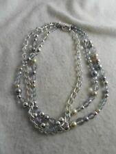 Hilfiger silver tone chain, faux pearl & blue bead triple strand toggle necklace
