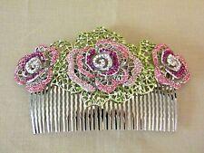 Bohemian Style Rhinestones Purple Rosette Design Hair Barrette Silver Comb