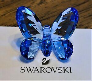 Swarovski Crystal 2009 Small Light Sapphire Brilliant Butterfly Figurine, Logo