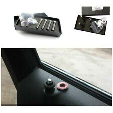 4x Black Genuine Carbon Fibre Car Truck Interior Door Lock Knob Pins Cover Kit