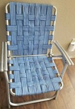 Vintage Aluminum Folding Webbed Lawn Folding Chair Rocker Blue  EUC ALL ALUMINUM