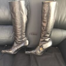 AUT GF/GIANFRANCO FERRE BLACK LEATHER/ALIGATOR COMB KNEE HIGH BOOTS 39/9 NWT