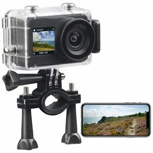Zeitraffer Kamera: UHD-Action-Cam mit 2 Displays, WLAN und Sony-Bildsensor, IPX8
