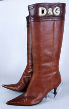 Dolce and Gabbana 37.5 alligator brown leather pointy boot 7.5 heel calf d&g