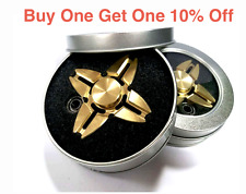 REAL BRASS Quad Fidget Gold Hand Spinner Toy Finger EDC Focus ADHD Autism Stress