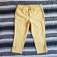 Women's Talbots Petites Sz 10P Curvy Crop Casual Capri Pants Yellow Zip Hem