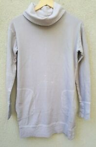 ATHLETA Sweat Shirt Womens Small Pullover Tunic Taupe Cowl Neck Cotton Boho Flaw