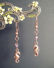 Cute Copper Seahorse and Purple AB Crystal Bead Short Drop Dangly Earrings