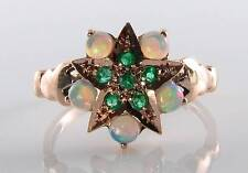 UNIQUE 9CT 9K ROSE GOLD EMERALD & OPAL ART DECO INS SUN STAR RING FREE RESIZE