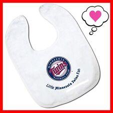 MLB Little Minnesota Twins Fan White Baby Snap Bib with Team Logo NWT