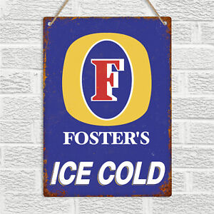 FOSTERS Lager Metal Wall Sign Plaque Aussie Beer Retro Bar Pub Kitchen Man Cave