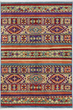 2.4x4 Hand-Knotted Kazak Carpet Tribal Blue Fine Wool Area Rug D57196