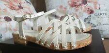 NWB CHANEL 18C Patent Leather Pearl Wood Platform Sandals Shoes Ivory 37