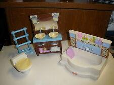 Fisher Price Loving Family Bathroom Doll House Furniture Set Tub Toilet