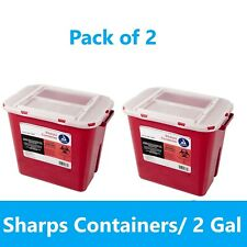 Sharps Container 2 Gallon Biohazard Needle Disposal Doctor Tattoo 2 Pack