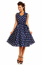 Retro Vintage Rockabilly Pin Up 50's Swing Dress Polka Dot Navy 205 Size 16 S7