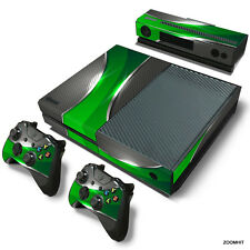 Xbox One Console Skin Decal Sticker Green & Chrome + 2 Controller & Kinect Skins