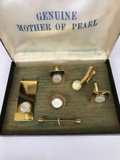 Vintage Genuine Mother of Pearl Cuff Links Tie Pin Set