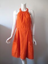 NWT London Times Orange Eyelet Casual Cotton Halter Dress 14  $39
