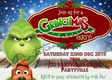 DIY Print Custom Christmas XMAS Santa Claus Holidays Grinch Party Invitations