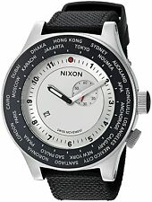 Nixon Men's A3211433 Passport 49mm GMT Silver Dial Black Nylon A321-1433-00