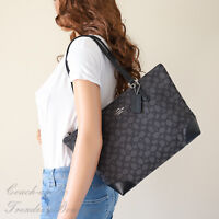 NWT Coach F29958 Zip Top Tote In Signature Jacquard Smoke/Black