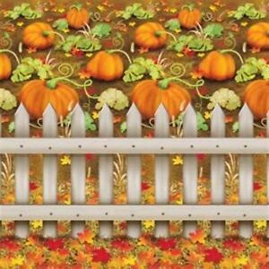 Pumpkin Patch Backdrop Plastic 30 Foot Fall Autumn Thanksgiving Scene Halloween