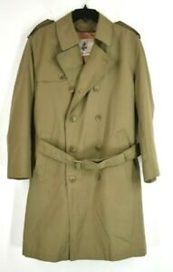 Misty Harbor Mens Tan Trench Coat Button Front Notch Collar Cotton Layered Sz 40