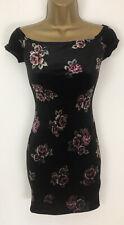 Primark Dress Black Pink Rose Print Velverty Bodycon Bardot Size 4