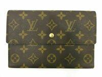 Auth Louis Vuitton Monogram Pochette Passport M60135 Trifold Wallet 90091