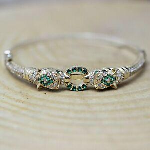 925 Sterling Silver Handmade Snake Turkish Emerald Ladies Bracelet Bangle Cuff