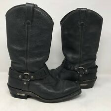 Harley Davidson Mens Pecos Pebbled Leather Riding Boots Sz 9.5 Motorcycle Biker