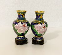 A Pair of Vintage Chinese Brass Cloisonne Vases 4 inch tall in Peony Flower Desi