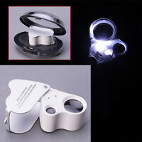60X 30X Glass Magnifying Magnifier Jeweler Eye Jewelry Loupe Loop W/ LED Lights