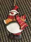"""FLAT RUSTIC VINTAGE LOOK 5"""" FAT SNOWMAN RED BEANIE STOCKING CAP & SCARF ORNAMENT"""