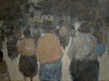 LARGE 1960'S FRENCH MODERNIST SIGNED OIL ON CANVAS - GROUP OF FIGURES - SUPERB