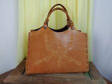 T-Bags Purse Handbag Medium Size Brown Leather Floral Embossed Flowers