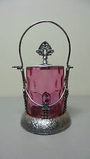 BEAUTIFUL VICTORIAN CRANBERRY GLASS PICKLE CASTOR, HARTFORD SILVER PLATE STAND