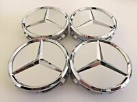 75mm Silver Star Chrome Wheel Center Hub Caps Emblem 4PC Set FOR Mercedes Benz