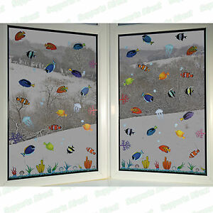 Fish Window Clings Vinyl Static Stickers Art Decoration Decals Reusable PVC