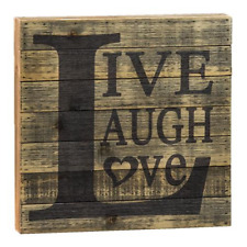 Rustic Square Slatted Sign - Live Love Laugh