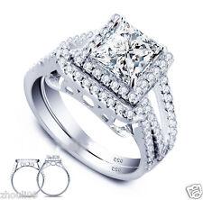 925 Silver Filled White Sapphire Size 7 Birthstone Wedding Set Ring 350