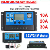 20A 30A 12V//24V Solar Panel Charger Controller Battery Regulator USB LCD BA10