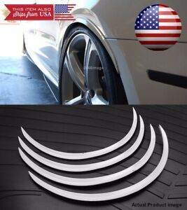 "2 Pairs White Flexible 1"" Arch Wide Fender Flares Extension Guard Lip For Nissan"