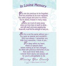 En la memoria cariñosa falta que caro Monedero Billetera Tarjeta De Oración Verso Recuerdo