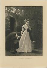 ANTIQUE VICTORIAN WOMAN MAN GARDEN BENCH LOVER'S QUARREL ENGRAVING ART PRINT