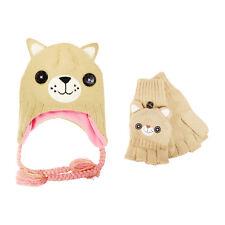 Official Freak & Friends Girls Bear Brown Laplander Winter Knitted Hat & Gloves