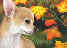 ACEO art print Dog 84 Chihuahua fall autumn from original painting by L.Dumas