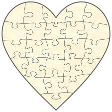 Blanko Holz-Puzzle Herz, 24 Teile, 38x38 cm, zum Selbst Bemalen und Gestalten