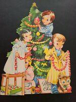 Vtg Christmas Greeting Card Diecut Stand 3-D Girls Boys Decorate Tree Kitten 50s